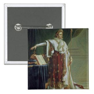 Portrait of Napoleon I in his Coronation Robes, 18 2 Inch Square Button