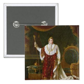 Portrait of Napoleon  in his Coronation Robes 2 Inch Square Button