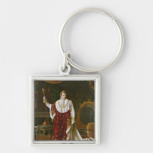 Portrait of Napoleon  in his Coronation Robes Silver-Colored Square Keychain