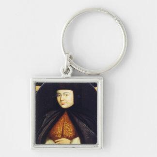 Portrait of Natalia Kirillovna Naryshkina Silver-Colored Square Keychain