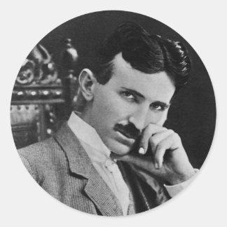 Portrait of Nikola Tesla Classic Round Sticker
