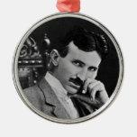 Portrait of Nikola Tesla Round Metal Christmas Ornament