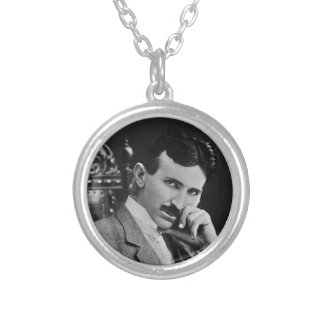 Portrait of Nikola Tesla Silver Plated Necklace