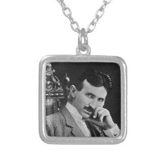 Portrait of Nikola Tesla Square Pendant Necklace