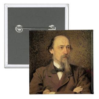 Portrait of Nikolay Alekseyevich Nekrasov, 1877 2 Inch Square Button