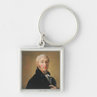 Portrait of Nikolay Mikhaylovich Karamzin , 1805 Silver-Colored Square Keychain