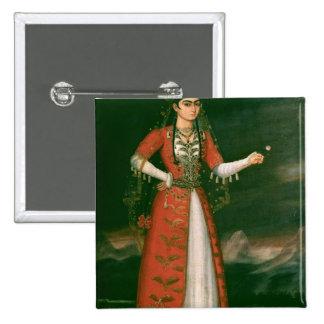 Portrait of Nino Eristavi, Iranian, 1829 2 Inch Square Button