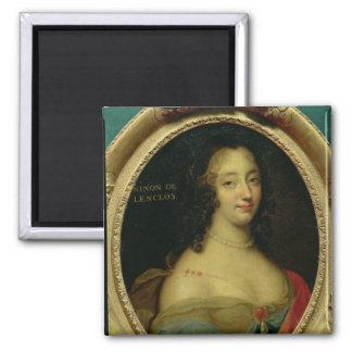 Portrait of Ninon de Lenclos 2 Inch Square Magnet
