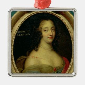 Portrait of Ninon de Lenclos Square Metal Christmas Ornament