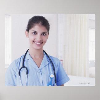 Portrait of nurse in hospital poster