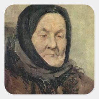 Portrait of old woman by Grigoriy Myasoyedov Sticker