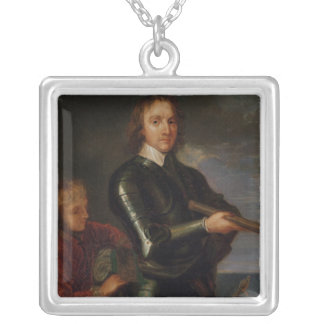 Portrait of Oliver Cromwell Silver Plated Necklace