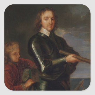 Portrait of Oliver Cromwell Square Sticker