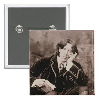 Portrait of Oscar Wilde (1854-1900), 1882 (b/w pho Pinback Button