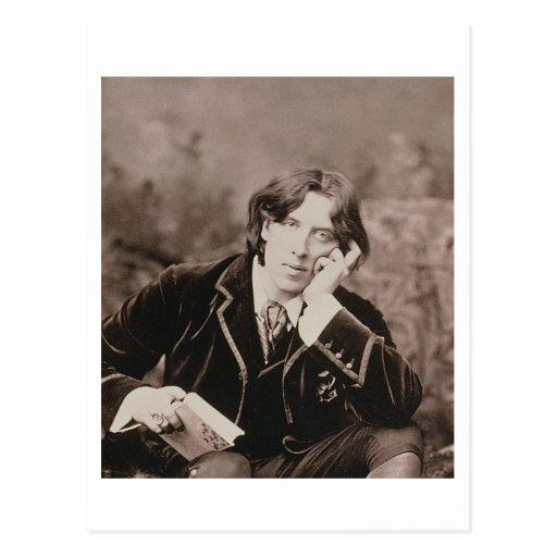 Portrait of Oscar Wilde (1854-1900), 1882 (b/w pho Postcard