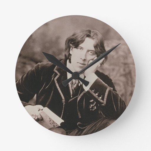 Portrait of Oscar Wilde (1854-1900), 1882 (b/w pho Round Clock