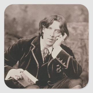 Portrait of Oscar Wilde (1854-1900), 1882 (b/w pho Square Sticker