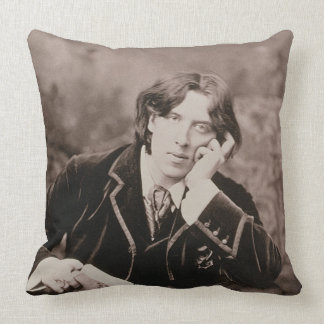 Portrait of Oscar Wilde (1854-1900), 1882 (b/w pho Throw Pillow