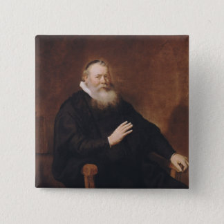 Portrait of Pastor Eleazer Swalmius, 1637-42 Pinback Button