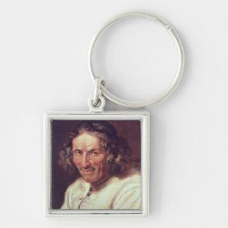 Portrait of Paul Scarron Silver-Colored Square Keychain