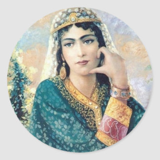 Portrait of Persian woman Round Stickers