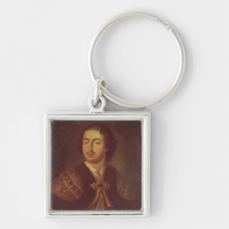 Portrait of Peter I Silver-Colored Square Keychain