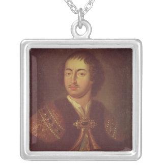 Portrait of Peter I Square Pendant Necklace
