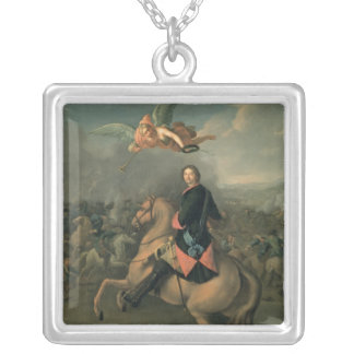 Portrait of Peter the Great against a Silver Plated Necklace