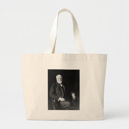 Portrait of Philanthropist Andrew Carnegie Large Tote Bag