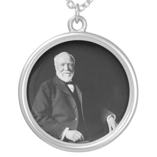 Portrait of Philanthropist Andrew Carnegie Round Pendant Necklace