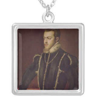 Portrait of Philip II  of Spain Silver Plated Necklace