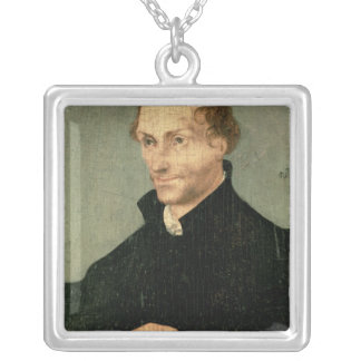Portrait of Philipp Melanchthon , 1532 Silver Plated Necklace