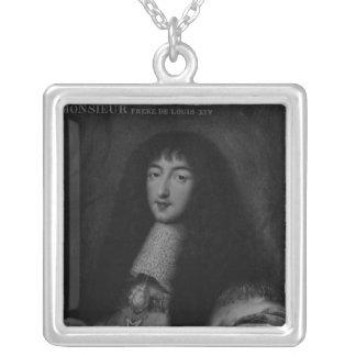 Portrait of Philippe  Duc d'Orleans Square Pendant Necklace