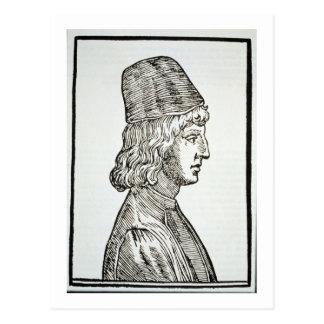 Portrait of Pico della Mirandola (1463-94), from ' Postcard