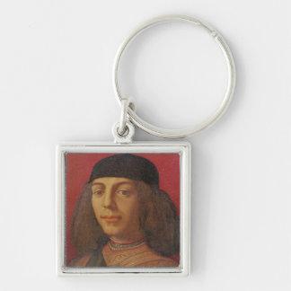 Portrait of Piero di Lorenzo de Medici Silver-Colored Square Keychain