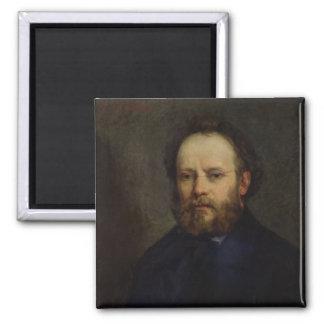 Portrait of Pierre Joseph Proudhon  1865 2 Inch Square Magnet