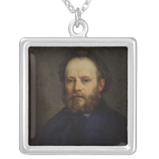 Portrait of Pierre Joseph Proudhon  1865 Silver Plated Necklace