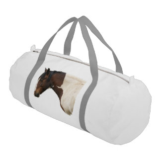 Portrait of Pinto Paint Stallion Horse Duffle Bag