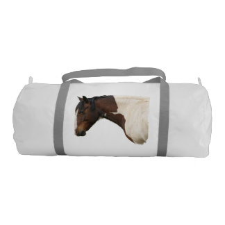 Portrait of Pinto Paint Stallion Horse Gym Bag