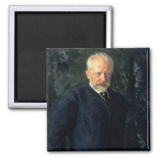 Portrait of Piotr Ilyich Tchaikovsky 2 Inch Square Magnet