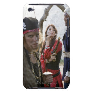 Portrait of pirates holding and threatening a barely there iPod case