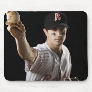 Portrait of pitcher throwing baseball mouse pad