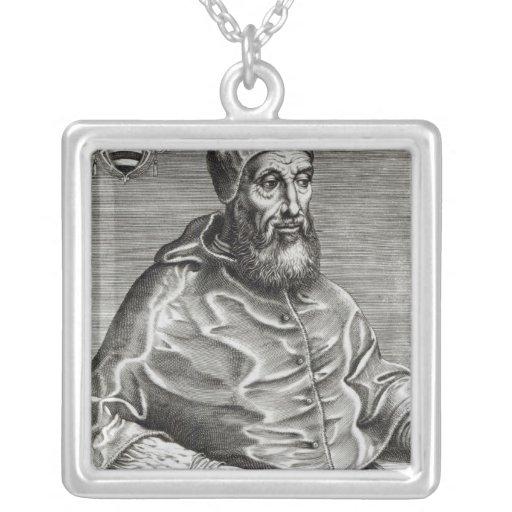 Portrait of Pope Pius IV, 1555 Square Pendant Necklace