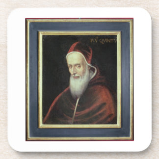 Portrait of Pope Pius V (1504-72) (oil on canvas) Drink Coaster