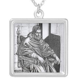 Portrait of Pope Sixtus V Square Pendant Necklace
