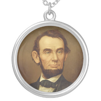 Portrait of President Abraham Lincoln Silver Plated Necklace