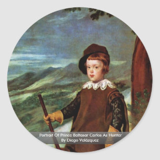 Portrait Of Prince Baltasar Carlos As Hunter Round Sticker
