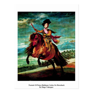 Portrait Of Prince Balthasar Carlos On Horseback Postcard