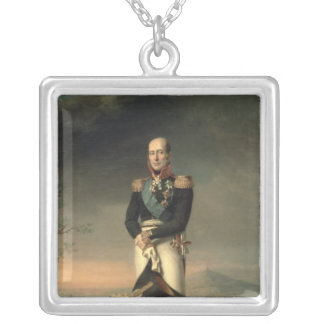 Portrait of Prince Mikhail Barclay de Tolly Silver Plated Necklace