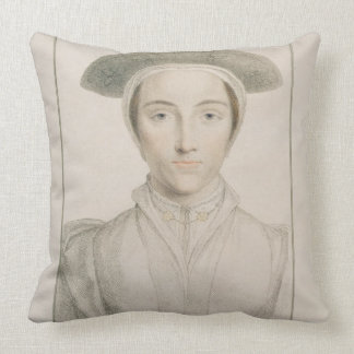 Portrait of Queen Anne of Cleves (1515-57) engrave Throw Pillow